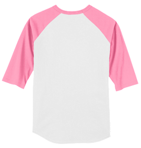Monogrammed Raglan Jersey Back - White / Bright Pink