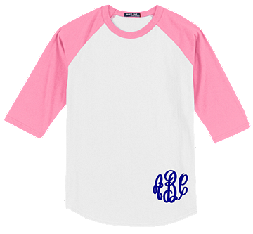 Monogrammed Raglan Jersey- White / Bright Pink