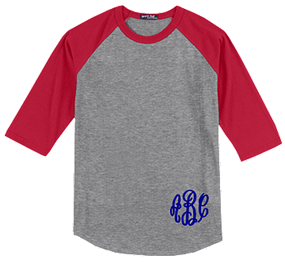 Monogrammed Raglan Jersey- Heather Grey / Red