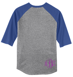 Monogrammed Raglan Jersey- Heather Grey / Royal Blue