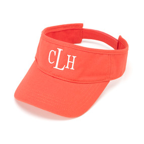 Monogrammed Coral Twill Ball Visor