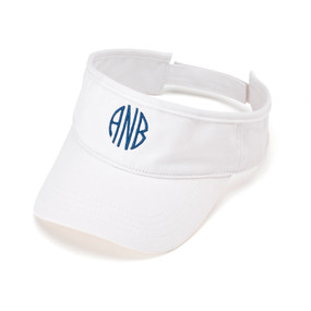 Monogrammed White Twill Ball Visor