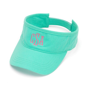 Monogrammed Mint Twill Ball Visor