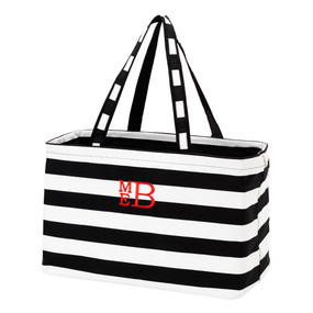 Monogrammed Black Stripe Ultimate Tote
