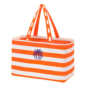 Monogrammed Orange Stripe Ultimate Tote