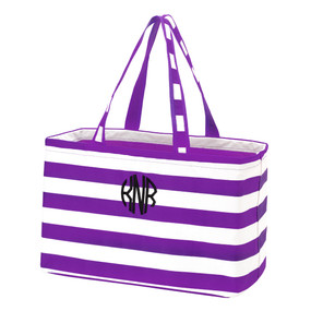 Monogrammed Purple Stripe Ultimate Tote (