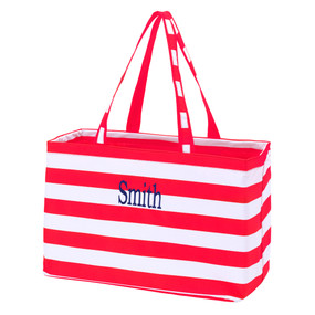 Monogrammed Red Stripe Ultimate Tote