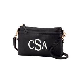 Monogrammed Bree Black Crossbody Purse