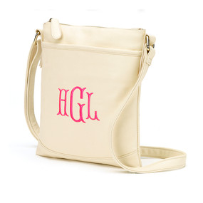 Monogrammed Creme Crossbody Purse
