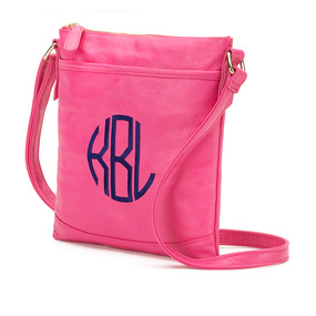 Monogrammed Hot Pink Crossbody Purse