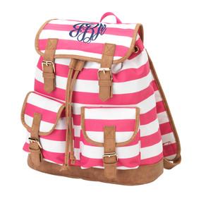 Monogrammed Pink Stripe Sawyer Campus Backpack