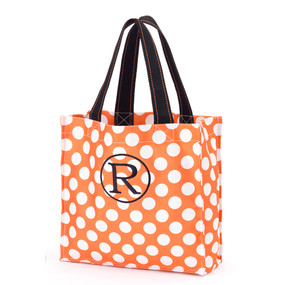 Monogrammed Orange Dot Halloween Tote