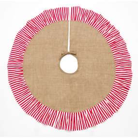 Monogrammed Classic Burlap Stripe Tree Skirt