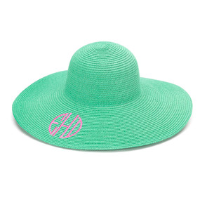 Monogrammed Mint Adult Sun Floppy Hat