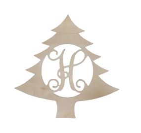 "Monogrammed 18"" Wooden Single Initial Christmas Tree Wall Hanger"