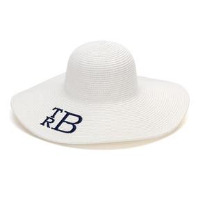Monogrammed White Adult Sun Floppy Hat
