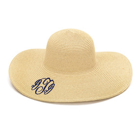 Monogrammed Natural Adult Sun Floppy Hat