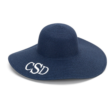 Monogrammed Navy Adult Sun Floppy Hat