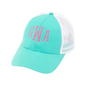Monogrammed Mint Trucker Hat