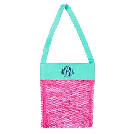 Monogrammed Hot Pink Shell Tote