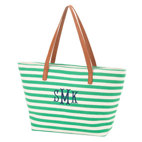 Monogrammed Green Stripe Charlotte Purse