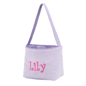 Monogrammed Purple Seersucker Easter Bucket