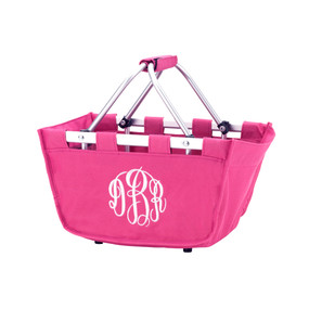 Monogrammed Hot Pink Mini Market Tote