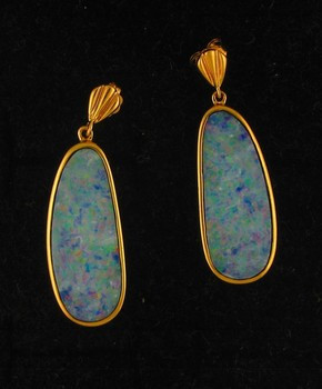 Australian Black Opal Earrings. 14 KY Gold.