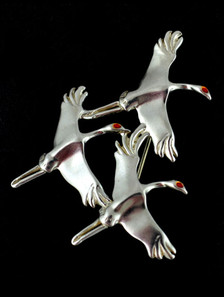 "Sterling silver, flying sandhill cranes pendant, Judie Gumm design, made in Alaska, 1 3/4 "" X 1 1/4 """