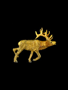 "Cavin Richie design elk pin, silicon bronze from original elk antler carving, 1 3/4 "" X 1 1/4 """