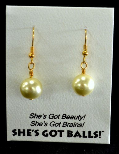 """Our lemon balls consist of high quality created Swarovski pearls on French wires, accompanied by our delightfully tacky packaging.  The balls come mounted on this card, with the inscription """"She's Got Beauty! She's Got Brains! She's Got Balls!"""""""