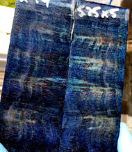 blue dyed quilted maple large stabilized scales 02