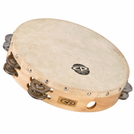 "CP 10"" Wood Headed Tambourine, Double Row Jingles CP380"