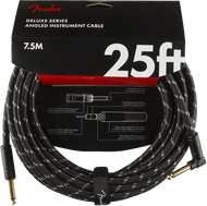 Fender Deluxe Series Instrument Cable, Straight/Angle, 25', Black Tweed