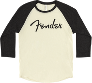 Fender® Spaghetti Logo Raglan T-Shirt, Cream and Black Tri-Blend, XL