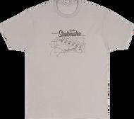 Fender Strat® Blueprint T-Shirt, Silver, XL