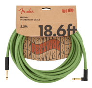 Fender 18.6' Angled Festival Instrument Cable, Pure Hemp, Green