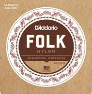D'Addario EJ33 Folk Nylon Ball End Acoustic Guitar Strings