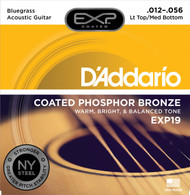 D'Addario EXP19 Coated Phosphor Bronze Bluegrass 12-56 Acoustic Guitar Strings