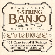 D'Addario EJ61 Nickel Light 10-23 5-string Banjo Strings