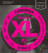 D'Addario ECB81-5 Chrome Flat Wound Light 45-132 5-string Bass Guitar Strings