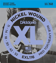 D'Addario EXL116 Nickel Medium Top/Heavy Bottom 11-52 Electric Guitar Strings