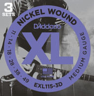D'Addario EXL115-3D Nickel Medium 11-49 Electric Guitar Strings 3 Sets