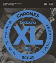 D'Addario ECG25 Chromes Flat Wound 12-52 Electric Guitar Strings