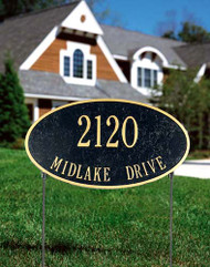 2-Sided Oval Lawn Address Sign