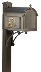 Deluxe Cast Aluminum Mailbox Post w/ Brackets