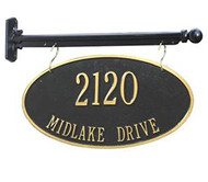 Hanging 2-Sided Oval Address Plaque (2 Lines)