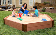 "Tool-Free Classic 7ft. x 8ft. x 11in. Composite Hexagon Sandbox Kit (2"" profile) Sienna"