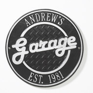 "Round Garage Plaque 12"" Diameter (2 Lines)"