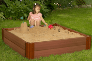 """Tool-Free Classic  4ft. x 4ft. x 11in. Composite Square Sandbox Kit  (2"""" profile) Sienna"""